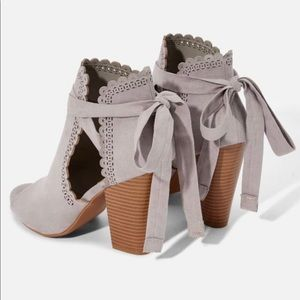 Gray open toe ankle tie heeled sandal